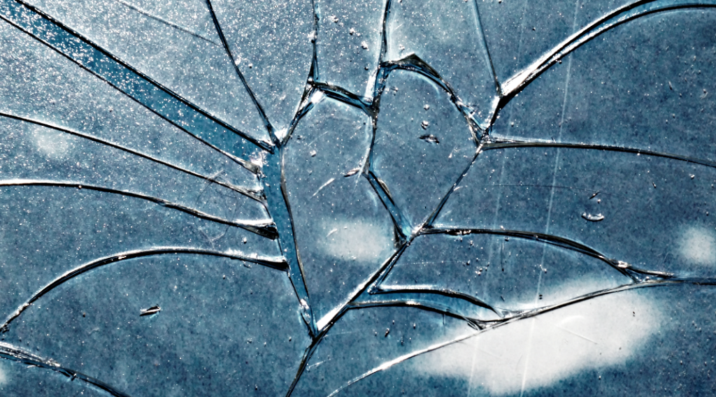 close up of shattered glass