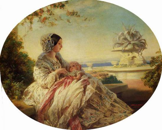 a painting of young queen victoria holding baby prince arthur under a tree
