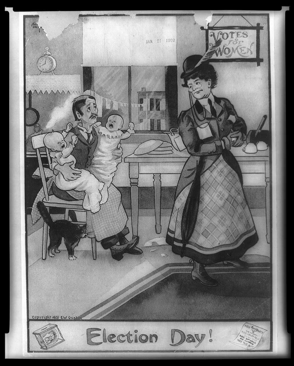 "Poster with caption ""election day!"" as a woman leaves the house with her husband holding crying babies"